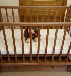 """Детская кроватка """"Лель""""+ ортопедический матрас"""