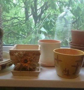 Горшки и поддон для цветов керамика