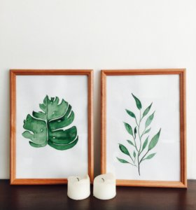 Handmade. Green leafs.