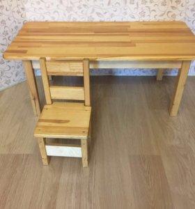 Деревянный стол и стул детский