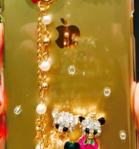 Чехол для iPhone айфон 6/6s мишки стразы золото