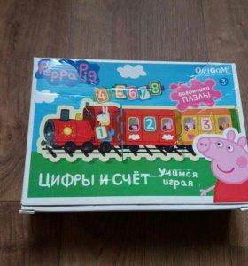 Пазлы свинка пеппа счет поезд