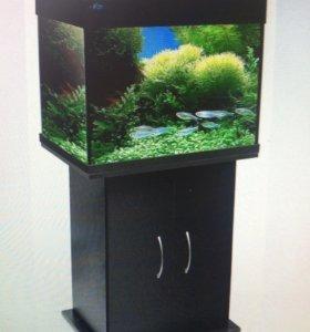 Продаю аквариум на 100 литров с черной тумбой