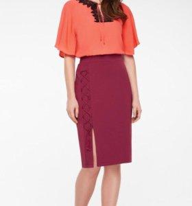 Трикотажная юбка, цвет бордовый