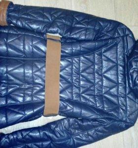 Кожаная утепленная куртка