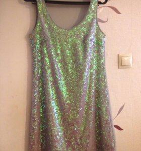Серое блестящее платье (туника)