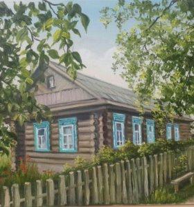Картина маслом. Старый дом. 30х40см+рама.