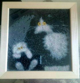 Картина коты алмазная мозайка