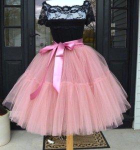 Пыльно розовая юбка пачка из фатина с поясом
