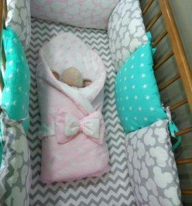 Бортики в кроватку и одеяло бом бон