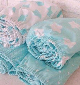 Простыня на резинке  в детскую кроватку