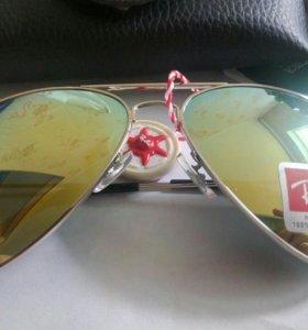 Очки Ray Ban Aviator золотые