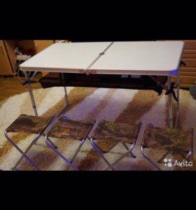 Туристический раскладной стол с полкой и стульями
