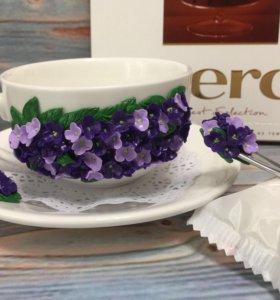 Чайный набор с декором из полимерной глины
