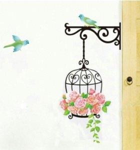 """Наклейки на стены """"Клетка и птицы"""""""