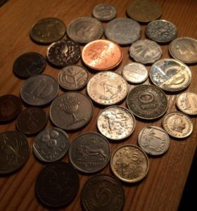 Монеты иностранные 30 шт.без повторов. Цена за все