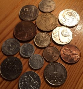 15 иностранных монет без повторов. Цена за все !
