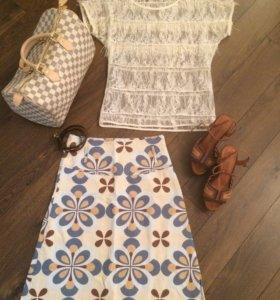 Сумка/блузка/юбка/босоножки