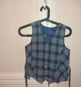 Комплект юбка + жилетка. 3-4 класс