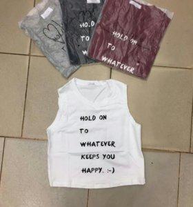 Новый топ футболка майка короткая надпись