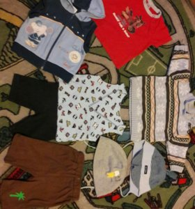 Пакетом: 6 мес Жилетка, кофта, штаны, футболки