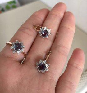 Комплект серьги+кольцо золото с бриллиантами