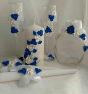 Свадебные бокалы, свечи из полимерной глины