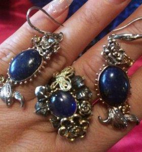 Комплект(серьги+кольцо) с сапфиром и кианитом