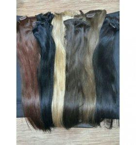 Натуральные волосы на заколках, полные наборы