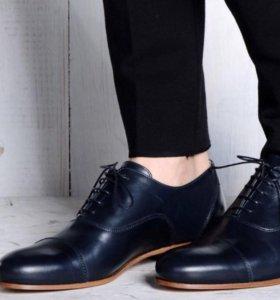 Синие туфли новые кожаные