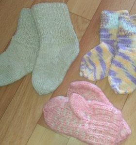 Детские шерстяные носочки и варежки