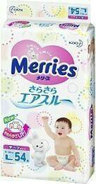 MERRIES Подгузники для детей размер L 9-14 кг /54ш