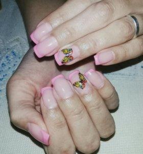Наращивание ногтей , покрытие гель лаком!!!