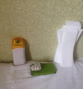 Нагреватель воска, воск, полоски для депиляции