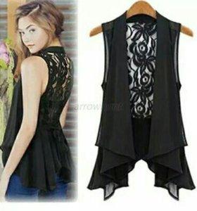 Блуза,жилет(черный,белый цвет)