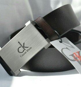 Коричневый кожаный ремень Calvin Klein