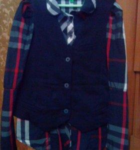 Сарафан школьный рубашка жилетка