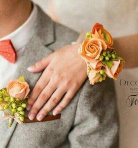 Букет невесты, браслеты на свадьбу, ободки