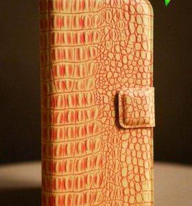 Книжка чехол на iPhone 5/5S, orange
