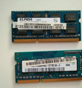 Оперативная память для ноутбука DDR3 2 и 1 гб