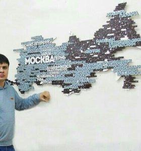 Карта России из дерева