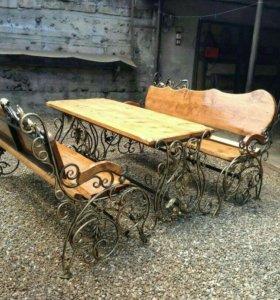 Кованные столы и скамейки