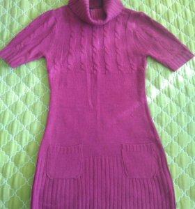 Платье вязаное фиолетовое S 42-44