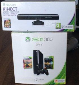Xbox 360 E 250гб+Kinect+10 игр