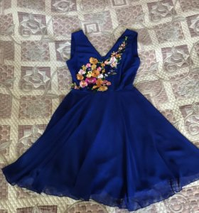 Платье шифоновое синее 42 р