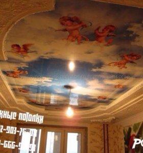 Натяжные потолки арт печать на белом лаке
