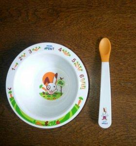 Тарелочка и ложечка для первого прикорма