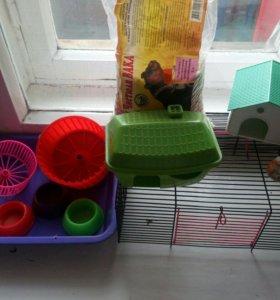 Клетка, миски, домики, 2 колеса, подстилка