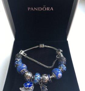 Браслет pandora с синими шармами