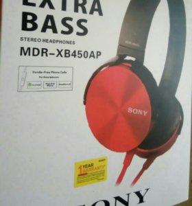 Sony mdr-xb450ap красные наушники (гарнитура Сони)